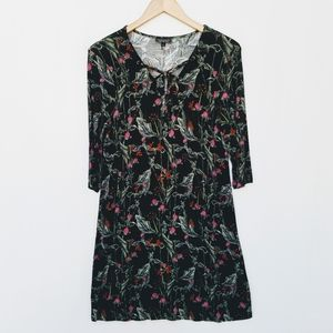 Topshop Flowy Floral Ribbed Lace Up Swing Dress 10